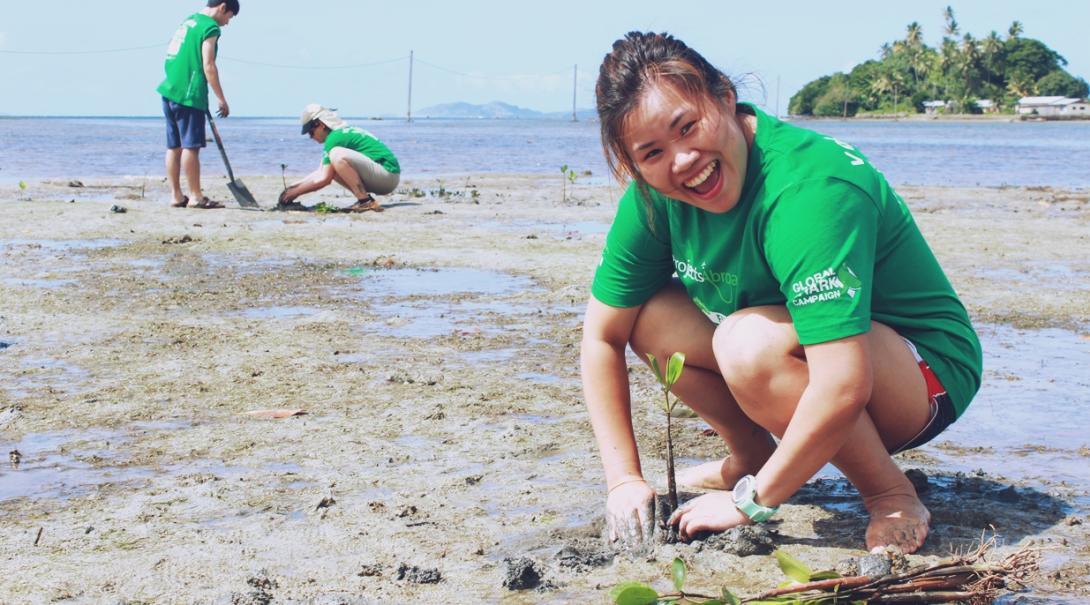 フィジーでマングローブの植林に貢献する日本人ボランティア